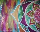 Flower Mandala // Abstract Geometric Modern Mandala with Copper Metallic Accents, Original Painting - 30 x 40