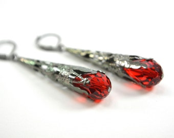 Red Earrings Dark Silver Gothic Victorian Vampire Earrings Vibrant Red Dangle Earrings