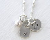 SALE, Confirmation Gift, First Communion, 1st Communion Necklace, Cross and Initial Necklace, Cross Necklace,  Pearl and Cross , Initials