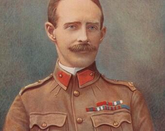 1900, Lieutenant-General Ian Hamilton, Large Antique Print, Army 121, Military Moustache, Uniform Commander, Frameable Art