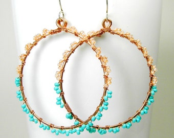 Large Copper Wirewrapped Hoop Beaded Earrings Sterling Silver Ear Wires Seed Beads Turquoise and Peach