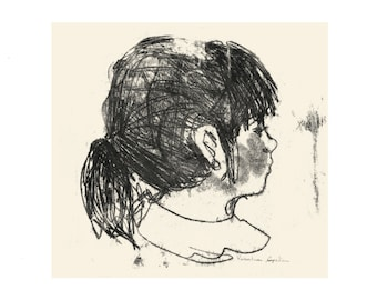 Illustration, Children illustration, Art Print, Wall Decor, Print, Illustration Print, Girl Drawing, Ink Drawing, Monotype, child portrait