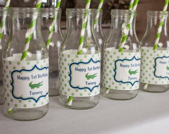 Alligator Birthday Party Water Bottle Labels - Alligator Birthday Party Decorations - Crocodile Labels - Navy Blue and Green (12)