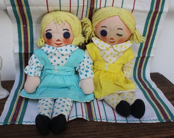 2 Cloth Dolls Maisy and Daisy MD Tissue Promotional Dolls Rag Advertising 1960s VINTAGE by Plantdreaming