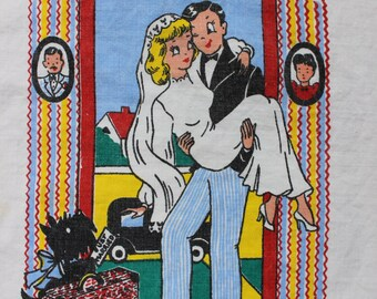 Bride Groom Tea Towel Wedding Just Married Scotty Dog mid century by Plantdreaming