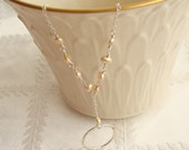 Wire Wrapped Peach Pearl and Hammered Ring Sterling Silver Necklace -Handmade Thin and Delicate