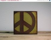 ON SALE Green Peace Sign Art Block Painting--MatchBlox--1773
