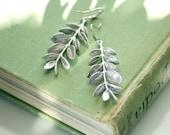 Vine earrings, Leaf earrings, Silver leaf earrings, Bridal earrings, Silver long earrings, Organic earrings, Grecian goddess earrings