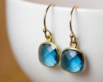 Small London Blue Quartz Dangle Earrings - 14K GF - Something Blue