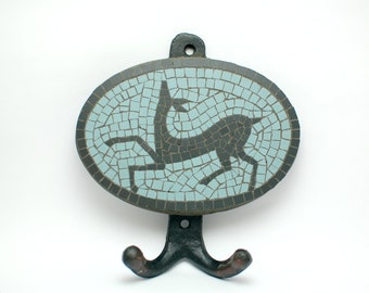 wall hook handmade mosaic with ceramic black and light blue tiles 5mm ( 5,12 in x 5,51 in ) - black deer