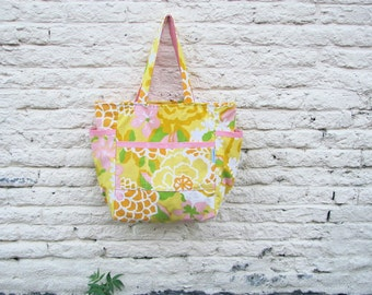 Sweet 70s Blooms Upcycled Large Weekender - Mid Century Yellow and Pink Florals - Shabby Chic - Teacher / Market / Diaper Bag - Eco Friendly