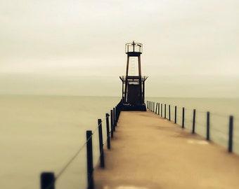 Chicago photograph - Rogers Park, wall decor, art print - sage, creme, wall art, lighthouse, pier, photography for walls, Lake Michigan art