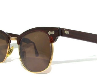 Vintage 1950s Clubmaster Sunglasses // 50s 60s Men's Brown Glasses // SRO Brand