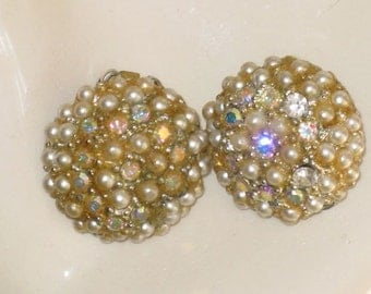 Vintage Rhinestone and Faux Pearl Clip Earrings (E-1-3)