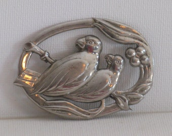 Vintage Austria Silver Tone Large Bird Pair Brooch Pin (B-1-2)