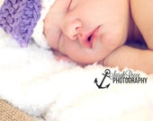 Cotton baby hat with bow, Infant hat, Photo Prop