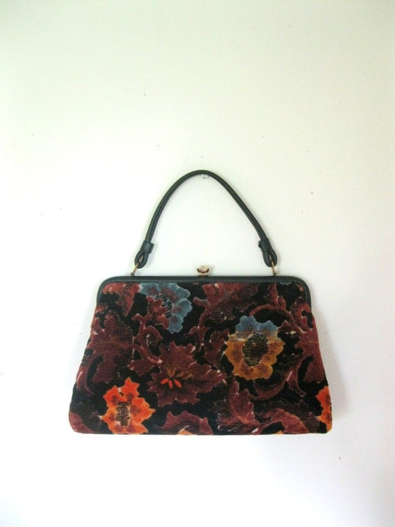 Vintage 60s Tapestry Handbag Velveteen Mod Carpet Bag