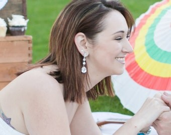 Wanetta - Silver Teardrop Crystal Earrings, Bridesmaid Earrings, Bridal Wedding Jewelry, Swarovski Crystal Drops