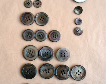 Black Pearl Buttons - Antique Victorian Shell / Mother of Pearl