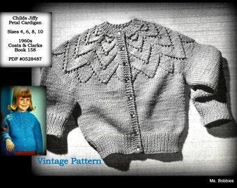 Childs Sweater Pattern - Cardigan - Girls Size 4 6 8 10 - Girls Sweater Pattern - Knitting - Jiffy Petals Cardigan - PDF 0528487 - 1960s