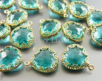 2 sea green fancy lace rim framed glass pendants, jewelry making supplies / crystal glass charms 5045G-SG (bright gold, sea green, 2 pieces)