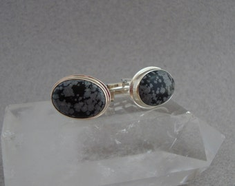 Snowflake Obsidian Cuff Links in Sterling Silver, Men's Jewelry, Gifts for Men
