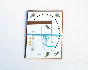 The Marlene Collection - Rustic Floral Wedding Invitation Set in Gold, Brown, Green, and Teal with Kraft or Cream Envelopes - SAMPLE