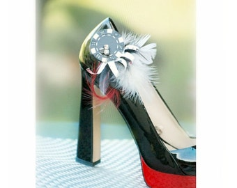Shoe Clips Poker Chips Dice Playing Cards & Feather. Casino Royale Las Vegas Game Theme Party. Red Black White Couture, Bridal Novelty Gift