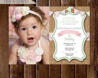 Shabby Style Seersucker and Cottage Roses Horizontal Photo Birthday Invitation- PRINTABLE INVITATION DESIGN