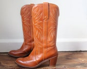 Reserved   Cognac Brown Cowboy Boots / 7.5 / stacked wooden heel