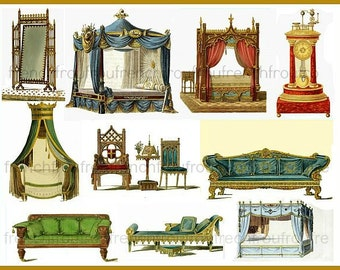 antique gothic furniture illustration sofa bed chairs clock DIGITAL DOWNLOAD