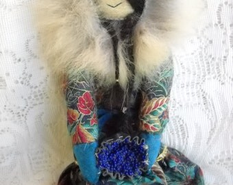 Vintage Eskimo Doll with Leather Face