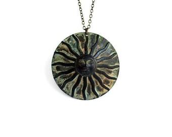 Sun Necklace, Verdigris Patina Brass, Sunshine Necklace, Large Sun Necklace, Long Chain Necklace