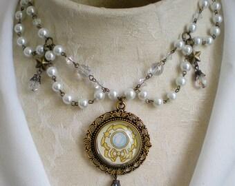Sailor Moon Crystal Locket Pearl Chandelier Necklace
