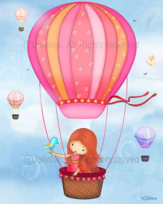 Hot air ballon Wall art, red head girl , kids room art, childrens bedroom decor, nursery art