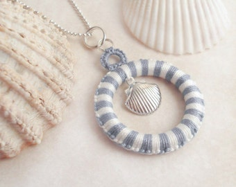 Nautical Tatted Pendant with Seashell Charm - Alys in blue and white