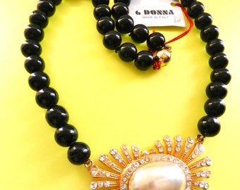 Gorgeous  vintage collier 1960 - signed, Italian chic -Italian haute couture-beads of bright black glass-art.183-