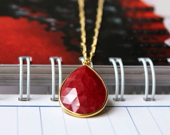 Ruby Gold Necklace - Bezel Set Pendant - 14K Goldfilled Beaded Chain - July Birthstone