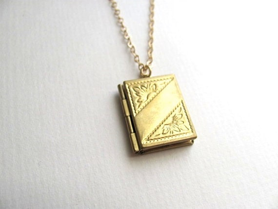 Small gold book locket necklace on 14k gold plate chain, etched engraved
