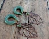 Green Budding Leaf Gauged Earrings Plugs with Green Aventurine