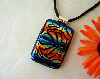 Blue, Gold, and Orange Fused Dichroic Glass Pendant - Dichroic Necklace - Fused Glass Jewelry - 42-14