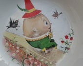 Vintage Humpty Dumpty Childs Dish Falcon Ware 40s 50s Nursery Rhyme Character Childrens China Crockery Illustrated Cereal Bowl 1940s 1950s