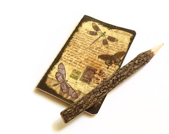 Decoupage pocket journal with naturalistic subject