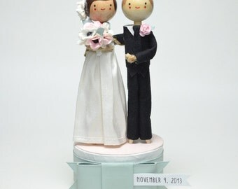 Custom Wedding Cake Topper with 1x CUSTOM CLOTHING