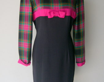 Vintage 1980s Pink Plaid Shift Dress by Misty Lane