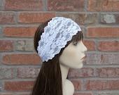 White Headband, Lace Headband, Wide Headband, Stretchy Headband, Comfortable Headband, Bridal Headband, Womens Headband, Head Bands, Stretch