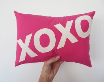XOXO Pillow -Hugs and Kisses - Love  - Custom Color You Choose