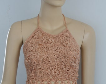 Ready to ship -Luxury  Desert Sand Peach Crochet Tank - Top - Halter - Summer - Corset   - one of a kind