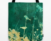 Birds on a Vine Tote Bag - artistic shopping bag, carry-all bag, photo art tote bags, book bag, all-purpose tote