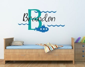 Initial Boys Name Wall Decal - Submarine Decal - Personalized Boy Decal - Large